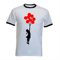 Banksy Girl With Red Balloons Contrast Ringer T-Shirt