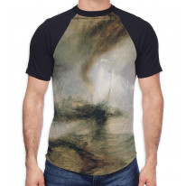 William Turner Snow Storm Men's All Over Graphic Contrast Baseball T Shirt