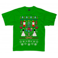 Merry Pixelated Christmas Funny Kids T-Shirt
