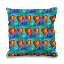 Peace and Love Valentines Day Faux Silk 45cm x 45cm Sofa Cushion