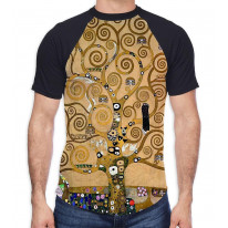 Gustav Klimt The Tree of Life Men's All Over Graphic Contrast Baseball T Shirt