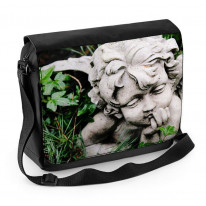 Angel Statue in Grass Laptop Messenger Bag