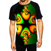 Psychedelic Pattern Men's All Over Graphic Contrast Baseball T Shirt