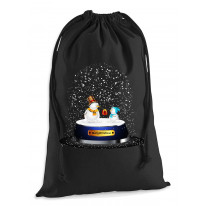 Snow Globe Snowman Christmas Presents Stocking Drawstring Santa Sack