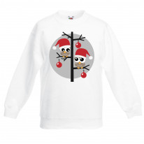 Christmas Owls with Santa Hats Childrens Kids Sweatshirt Jumper