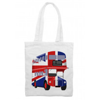 London Bus Union Jack Cotton Shoulder Shopping Bag