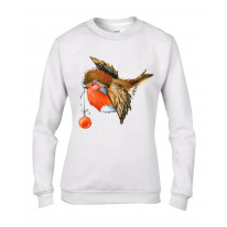 Christmas Robin With Bauble Cute Women's Sweater \ Jumper