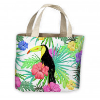 Tropical Flowers Toucan Pattern All Over Tote Shopping Bag For Life