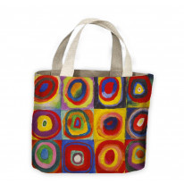Wassily Kandinsky Colour Study Square with Concentric Circles Tote Shopping Bag For Life