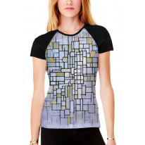 Piet Mondrian Composition in Blue and Grey Women's All Over Graphic Contrast Baseball T Shirt