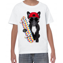 French Bulldog Skateboarder Funny Children's T-Shirt