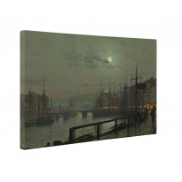 John Atkinson Grimshaw Whitby Harbour Box Canvas Print Wall Art - Choice of Sizes