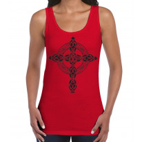 Celtic Cross Tattoo Style Hipster Large Print Women's Vest Tank Top
