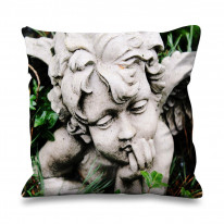 Angel Statue in Grass Faux Silk 45cm x 45cm Sofa Cushion
