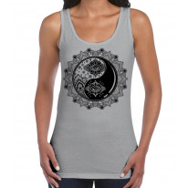 Yin and Yang Mandala Hipster Tattoo Large Print Women's Vest Tank Top