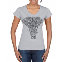 Tribal Indian Elephant Tattoo Large Print V Neck Women's T-Shirt