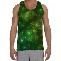 Weed Leaf Pattern Background Men's All Over Graphic Vest Tank Top