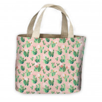 Cactus Pink Flowers Pattern All Over Tote Shopping Bag For Life