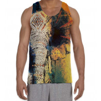 Elephant Painting Men's All Over Graphic Vest Tank Top