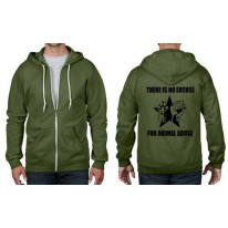 There Is No Excuse For Animal Abuse Zip Hoodie