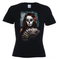 Day Of The Dead Girl With Fan Women's T-Shirt