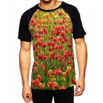 Tulip Field Pattern Men's All Over Print Graphic Contrast Baseball T Shirt