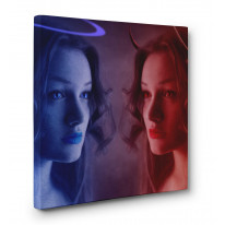Angel and Devil Women Box Canvas Print Wall Art - Choice of Sizes