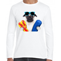 Pug Dog On Holiday Funny Men's Long Sleeve T-Shirt