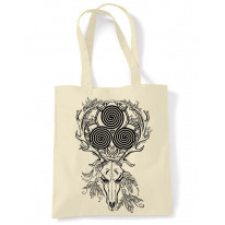 Deer Stag Skull With Celtic Spiral Large Print Tote Shoulder Shopping Bag