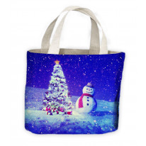 Snowman and Christmas Tree Tote Shopping Bag For Life