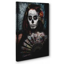 Day of The Dead Fan Girl Box Canvas Print Wall Art - Choice of Sizes