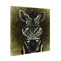 Zebra with Glasses Box Canvas Print Wall Art - Choice of Sizes