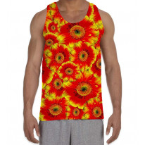 Red Flowers Pattern Men's All Over Graphic Vest Tank Top