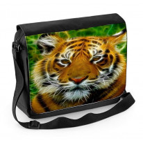 Abstract Tiger Face Laptop Messenger Bag