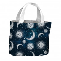Sun and Moon Midnight Pattern All Over Tote Shopping Bag For Life