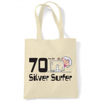 70 Year OId Silver Surfer 70th Birthday Tote Bag