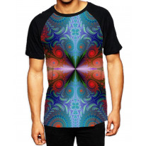 Psychedelic Fractal Red Pattern Men's All Over Print Graphic Contrast Baseball T Shirt