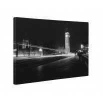 Big Ben London Black and White Box Canvas Print Wall Art - Choice of Sizes