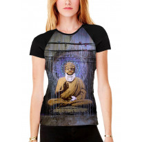 Banksy Injured Buddha Women's All Over Print Graphic Contrast Baseball T Shirt