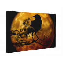 Raven and Full Moon Box Canvas Print Wall Art - Choice of Sizes