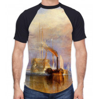 William Turner The Fighting Temeraire Men's All Over Graphic Contrast Baseball T Shirt