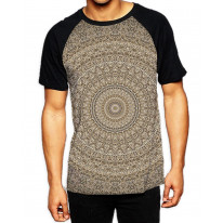 Indian Pattern Men's All Over Print Graphic Contrast Baseball T Shirt