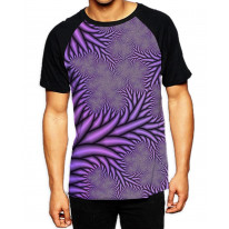 Fractal Spikes Purple Men's All Over Graphic Contrast Baseball T Shirt