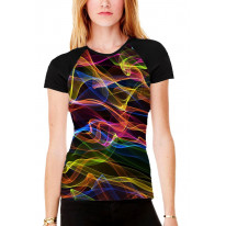 Colour Waves Women's All Over Graphic Contrast Baseball T Shirt