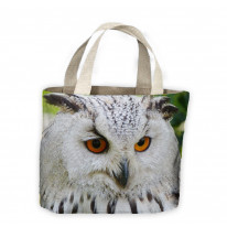 Eagle Owl Face Light Background Tote Shopping Bag For Life