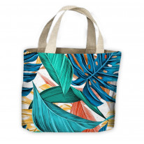 Tropical Leaves Multicoloured Pattern All Over Tote Shopping Bag For Life