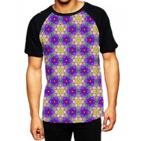 Purple Stained Glass Window Men's All Over Print Graphic Contrast Baseball T Shirt