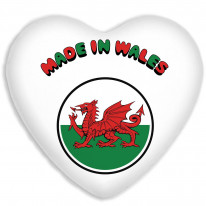 Made in Wales Welsh Faux Silk Heart Shaped Sofa Cushion