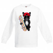 French Bulldog Skateboarder Children's Unisex Sweatshirt Jumper