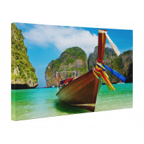 Fishermans Boat Andaman Sea Thailand Box Canvas Print Wall Art - Choice of Sizes
